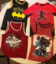 4 Boy's Tank Tops and T Shirt size 7 OSH KOSH, CONVERSE, Batman V Superman
