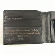Negro Personalizado Cartera + Caja de Regalo Grabado Piel Original