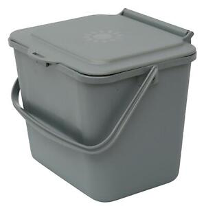 Silver 5L Kitchen Compost Caddy/Food Recycling Waste Bin – 5 Litre