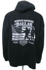 Harley Davidson Men's 2XL Black Hoodie Sweatshirt Zip Dallas Texas Troops EUC