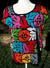 Mexican Black Blouse Shirt Top Embroidered Flowers Birds Chiapas S/M C084