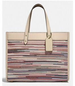 ❤️ Coach Field Tote 30 With Weaving C3859 Brass/Ivory Multi Original Packaging