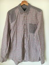 """Burton Soft Feel Size M 40"""" Red Navy Brown Check Cotton Shirt <T7813"""