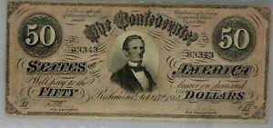 1864 $50 Confederate States of America Note PMG VF 25