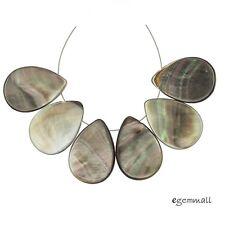 6 Rainbow Mother of Pearl Shell Flat Pear Teardrop Beads 18x25mm #75138