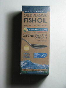 Wiley's Finest WILD ALASKAN Peak Omega-3 Liquid FISH OIL Lemon 4.23 FL OZ 04/22