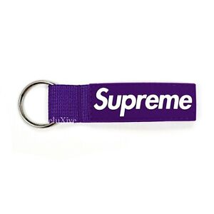 NWT Supreme Rubber Box Logo Webbing Key Chain Keyring Purple FW20 DS AUTHENTIC