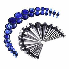 36PCS Gauges Kit Stainless Steel Tapers Blue Plugs 14G-00G Ear Stretching Set