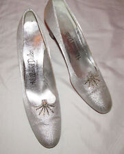 50's Hill And Dale metallic silver glam rhinestone embellished pin up shoes 8 A*
