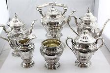 Antique Black Starr & Frost Sterling Silver Complete 6 Piece Repouse Tea Set