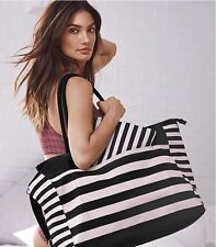 NWT 1 VICTORIA'S SECRET 2016 STRIPED PINK & BLACK GETAWAY TOTE BAG WEEKENDER