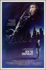 """ROUND MIDNIGHT 27""""X41"""" Original Movie Poster One Sheet ROLLED 1986 Dexter Gordon"""