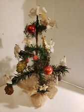 Antique German 10 in. Miniature Christmas Tree W/ Ornaments ! Nice!
