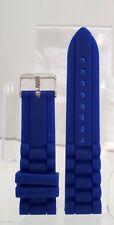 Lot 2 Bracelet Montre/Watch Bands Caoutchouc souple 22 mm Bleu Boucle Acier Neu