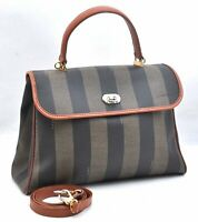 Authentic FENDI Pequin Shoulder Hand Bag 2Way PVC Brown A2824