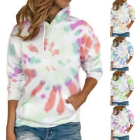 Women Long Sleeve Tye Die Pockets Hoodie Sweatshirt Pullover Blouse Casual Tops