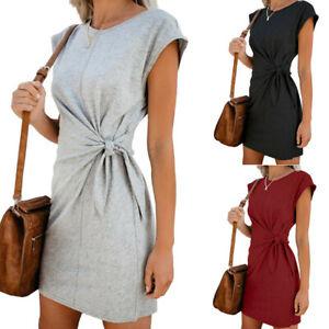 Women's Casual Soild Dress with Waist Tie Short Sleeves Round Neck Loose Dress