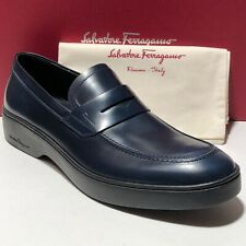 Ferragamo Navy Blue 10 D 43 Men's Penny Loafers Fashion Dress Casual Moccasin