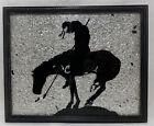 Vintage Framed END OF TRAIL Silhouette Native Warrior on Horse Aluminum Crinkle