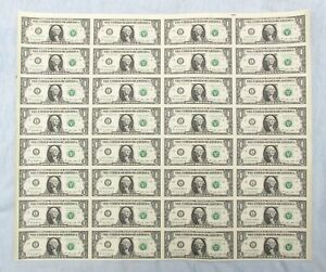 Series 2009 $1 UNCUT SHEET OF 32 Notes w/ Original BEP Tube SAN FRANCISCO w/ COA