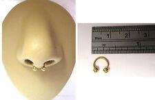 Small Gold Titanium Septum Half Hoop Horseshoe Ring Barbell 18 gauge 18g 6mm