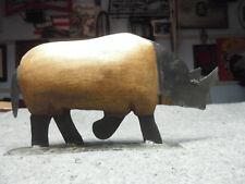 Rhinoceros Foot Long Rhino Statue Home Decor Steel & Wood African figurine