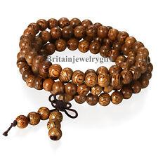 108 Wood Necklace Sandalwood Prayer Beads Bracelet Meditation Buddhist Mala*6MM