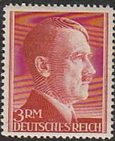 Stamp Germany Mi 801 Sc 526 1941 WW2 3rd Reich Hitler Head MH