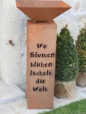 Edelrost Säule Spruch Blume mit Schale Dekoration Garten Terrasse Beet Skulptur