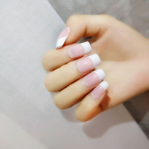 French Natural Light Pink Fake Nails Manicure Tool False Nail Tips With Glue~IR