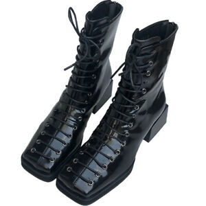 Women's Ankle Boots Patent Leather Chunky Heels Square Toe Lace Up Zipper Shoes