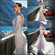 Long Sleeve  Mermaid Wedding Dressees Lace Beads Applique Bridal Gowns Sexy 8