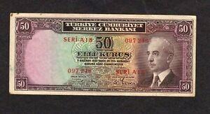 Turkey 50 Kurus  L.1930  P-133  F+