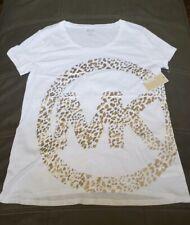 MICHel KORS WOMEN'S NWT METALLIC GOLD LOGO FRONT Sz LARGE.