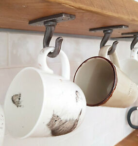 SMALL CAST IRON VINTAGE STYLE KITCHEN CUP MUG HOOKS X5 PURE BLACK