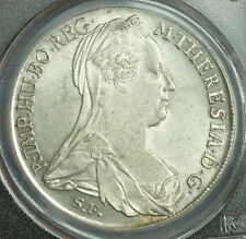 1780, Empress Maria Theresa. Silver Thaler Coin. Early Re-Strike! PCGS AU-58!