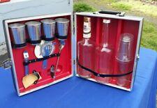 Vintage Travel Liquor Hard Case Portable Bar Set Mid Century Bourbon