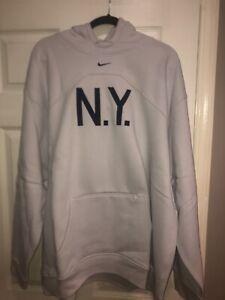 NWT Light Gray Nike NY Yankee Hooded Pullover Sweatshirt Size XXL