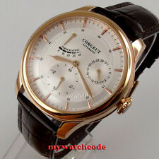 golden 42mm CORGEUT white dial Power reserve Automatic mechanical mens watch