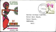 QUANTAS :1969 SINGAPORE to BALI flight cover-EUSTIS 1644a
