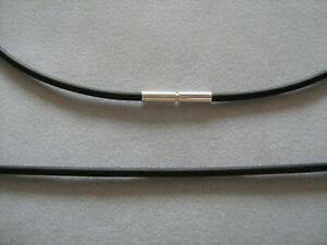 schwarze Kautschuk Kette 925 Silber Bajonettverschluss 2 mm stark jede Länge