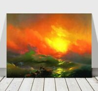 IVAN AIVAZOVSKY - The Ninth Wave - Ocean Sunset - CANVAS PRINT POSTER - 36x24""