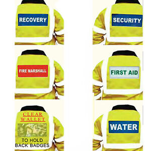 Back Reflective Badges Slide or Sew On Recovery Security First Aid 237 X 110mm