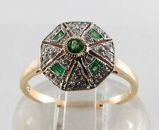 Lovely 9CT 9K ORO Colombiano Smeraldo E Diamante Art Deco INS Anello libero Ridimensiona
