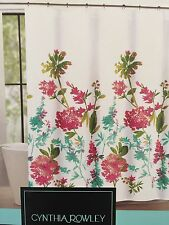 Cynthia Rowley Fabric Shower Curtain Giacomo Wild Fiore Floral Teal Melon Pink