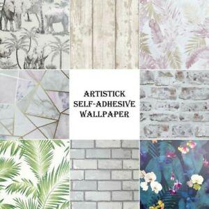 Artistick Papier Peint Adhésif - Floral Feuilles Brique Géométrique Tropical