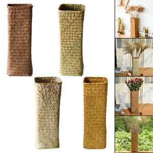 Hand-Woven Rattan Vase Rustic Handmade Woven Seagrass Plant Basket Storage