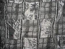 Patchwork-Optik/Karo Crash Schwarz, Grau, Silber mit eingewebtem Schwarz Satin