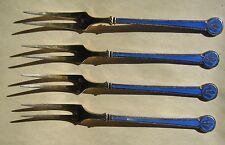 DAVID-ANDERSEN Sterling Silver 925s Blue Enamel Hors D'oeuvre Forks DA Norway
