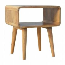 Solid Wood Scandi Nordic Style Bedside Table with Open Shelf